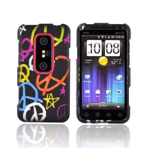 HTC EVO 3D Rubberized Hard Case - Rainbow Peace Signs on Black