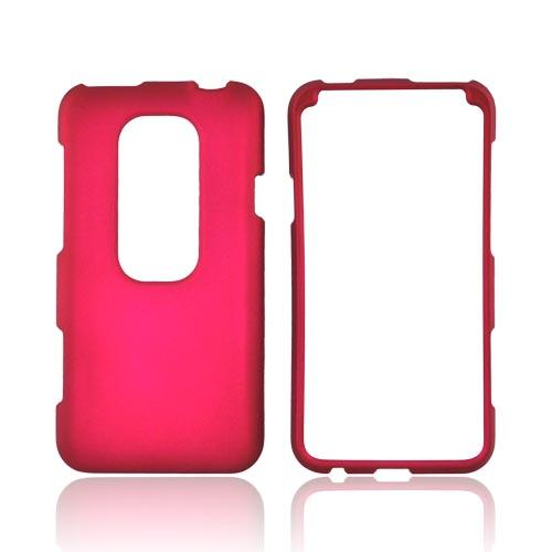 HTC EVO 3D Rubberized Hard Case - Rose Pink