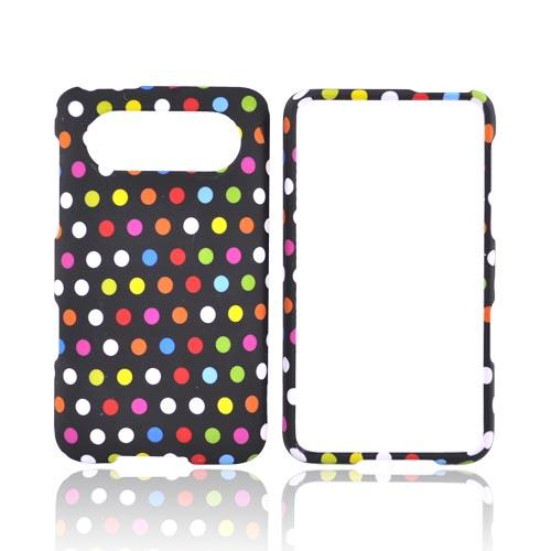HTC HD7 / HTC HD7s Rubberized Hard Case - Colorful Polka Dots on Black