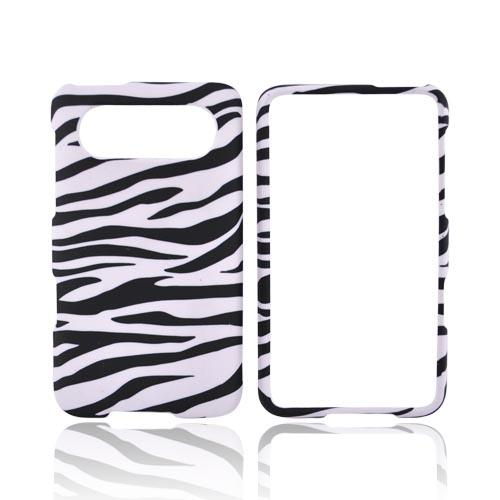 HTC HD7 / HTC HD7s Rubberized Hard Case - Black/White Zebra