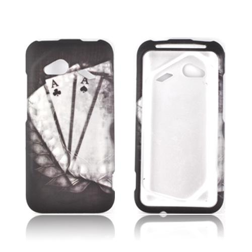 HTC Droid Incredible 4G Rubberized Hard Case - Black/ White Aces w/ Laurel Leaf Imprint
