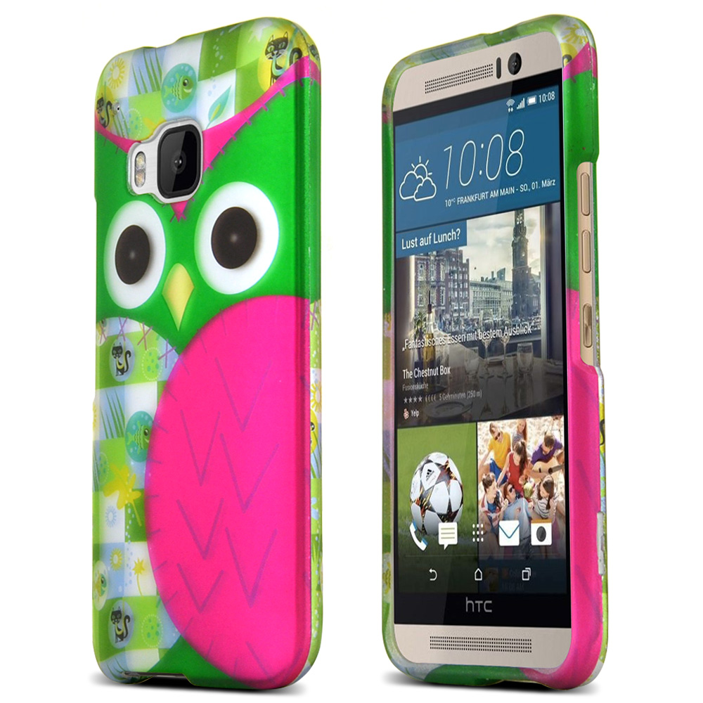 HTC One M9 Case, [Hot Pink/ Green Owl]  Slim & Flexible Anti-shock Crystal Silicone Protective TPU Gel Skin Case Cover