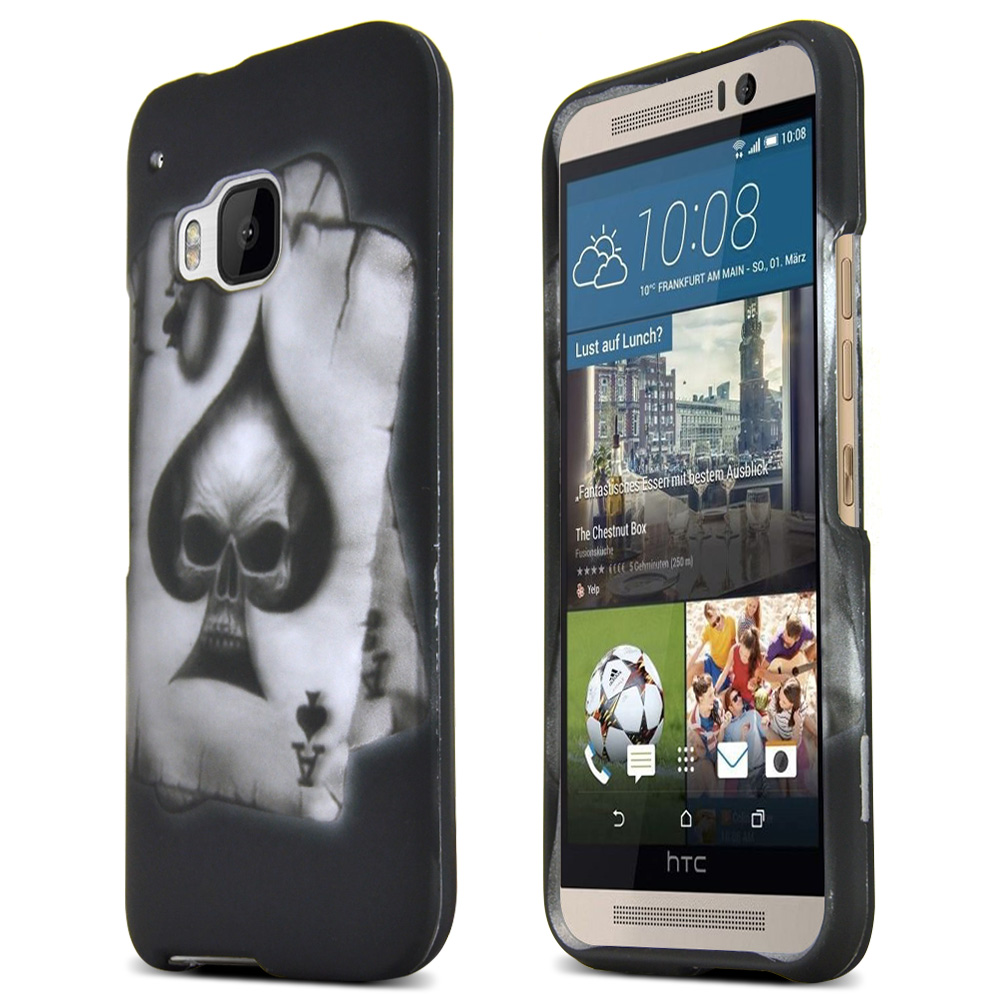 HTC One M9 Case, [Ace Spade Skull]  Slim & Flexible Anti-shock Crystal Silicone Protective TPU Gel Skin Case Cover