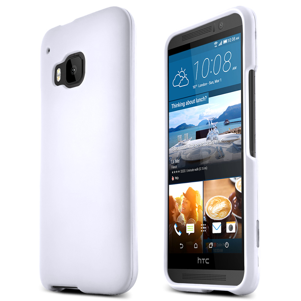 HTC One M9 Case, [White]  Slim & Protective Rubberized Matte Finish Snap-on Hard Polycarbonate Plastic Case Cover