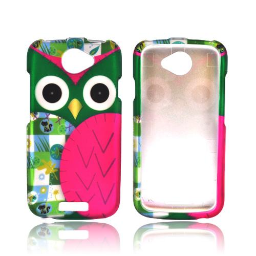HTC One S Rubberized Hard Case - Green/ Pink Owl Design
