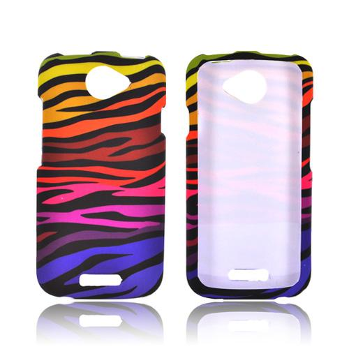 HTC One S Rubberized Hard Case - Rainbow Zebra on Black