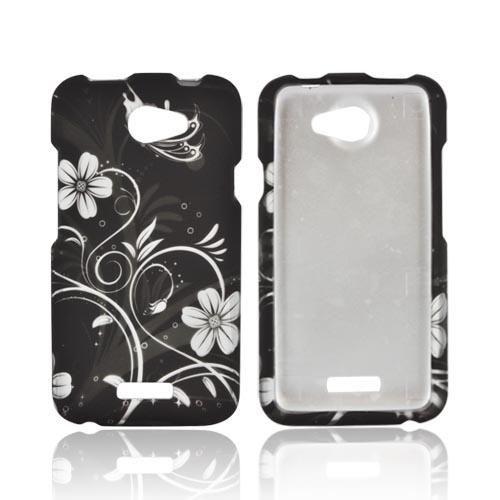HTC One X Rubberized Hard Case - White Flowers on Black