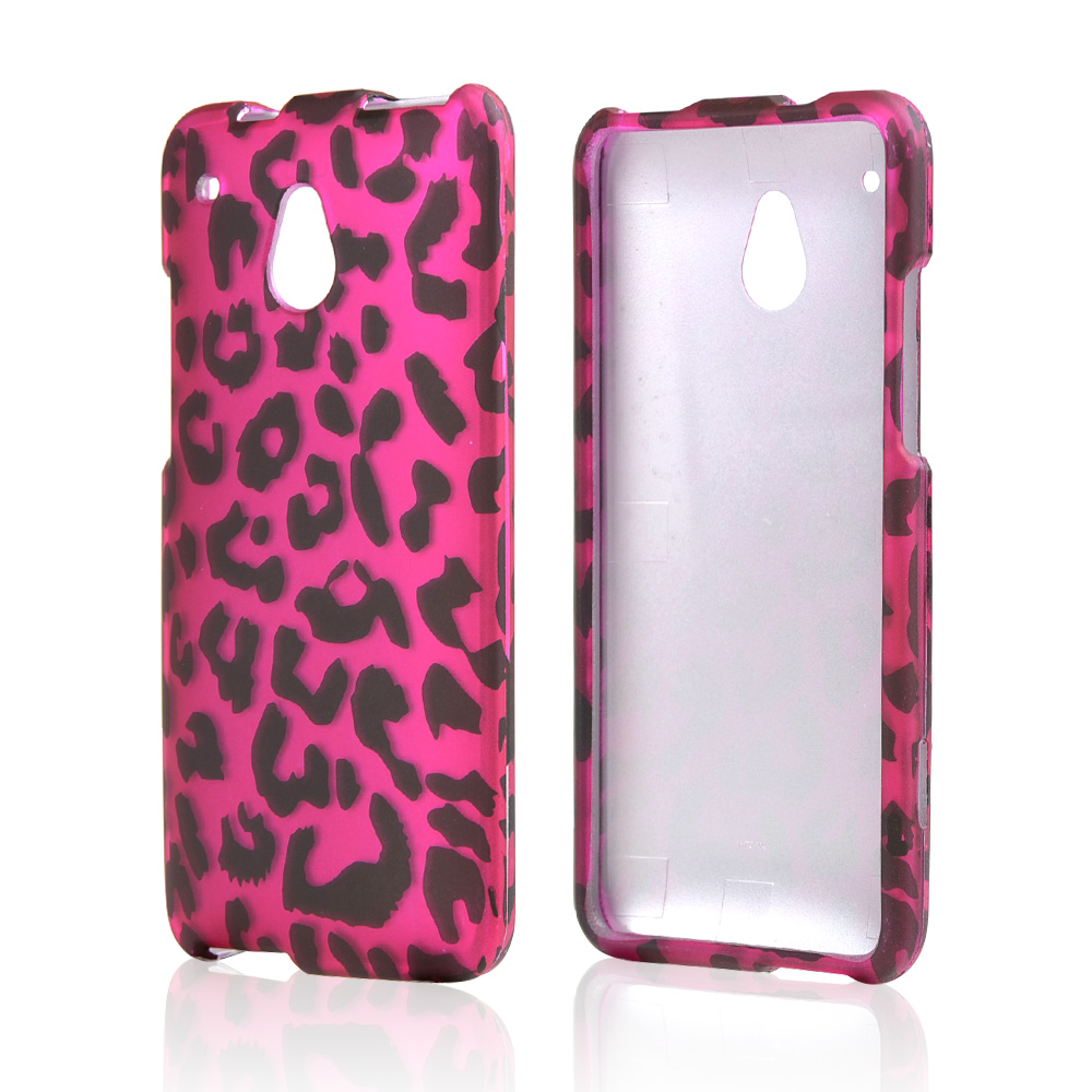 Black Leopard on Hot Pink Rubberized Hard Case for HTC One Mini