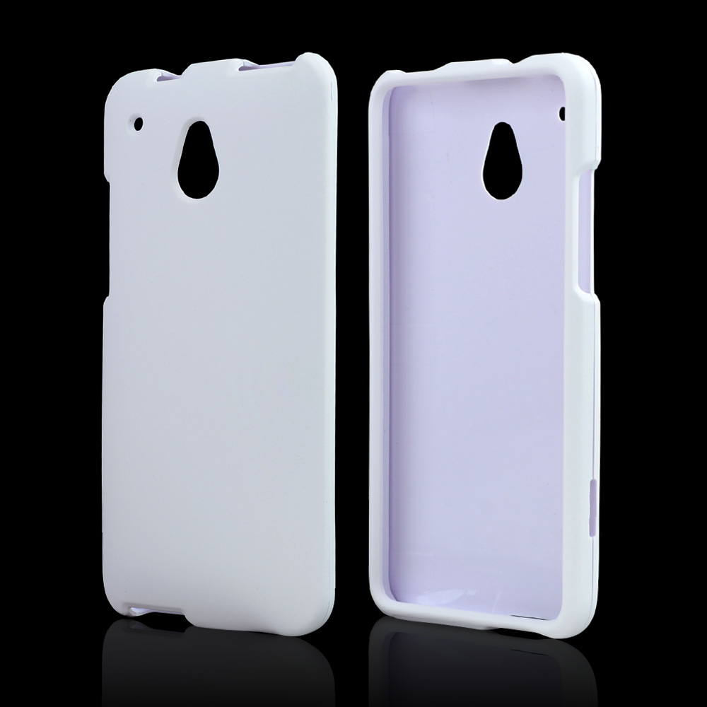 White Rubberized Hard Case for HTC One Mini