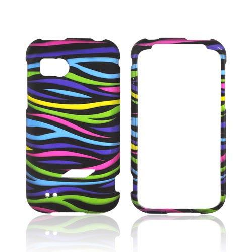 HTC Rezound Rubberized Hard Case - Rainbow Zebra on Black