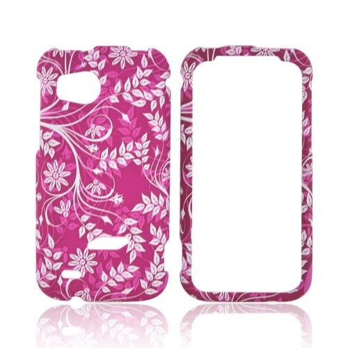 HTC Rezound Rubberized Hard Case - White Leaves/ Flowers on Magenta