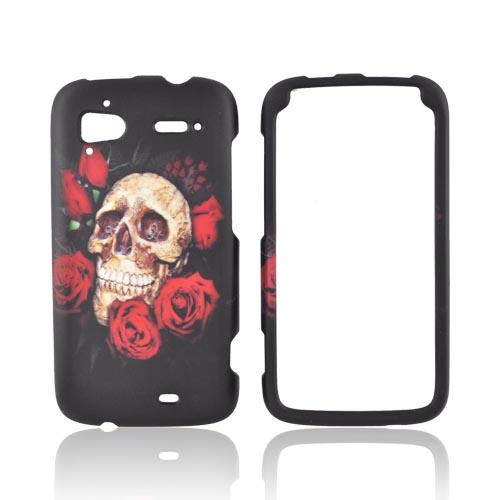 HTC Sensation 4G Rubberized Hard Case - Skull & Roses on Black