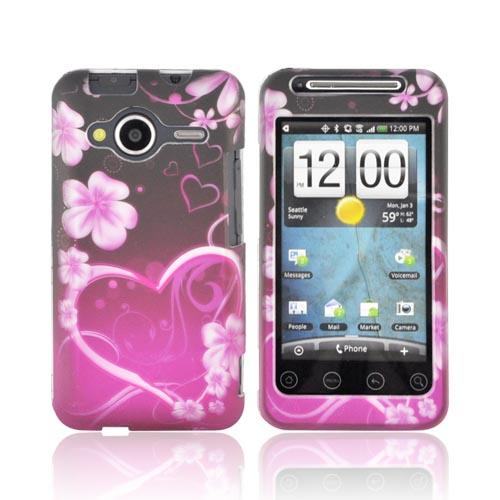 HTC EVO Shift 4G Rubberized Hard Case - Pink Heart and Flowers