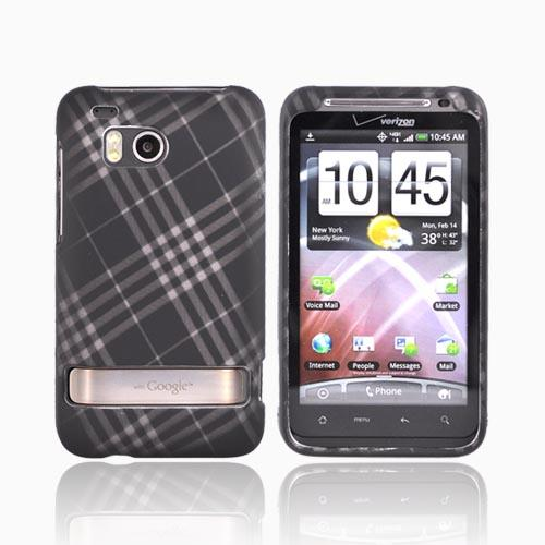 HTC Thunderbolt Rubberized Hard Case - Checkered Gray Diamonds on Black