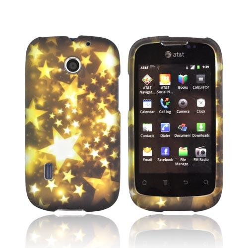 AT&T Fusion U8652 Rubberized Hard Case - Yellow Stars on Black