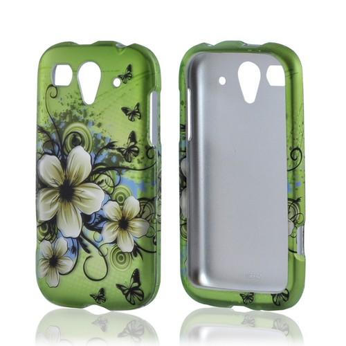 T-Mobile Huawei myTouch 2 Rubberized Hard Case - White Hawaiian Flowers on Green