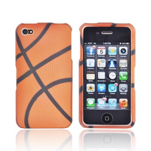 AT&T/ Verizon Apple iPhone 4, iPhone 4S Rubberized Hard Case - Orange/ Black Basketball