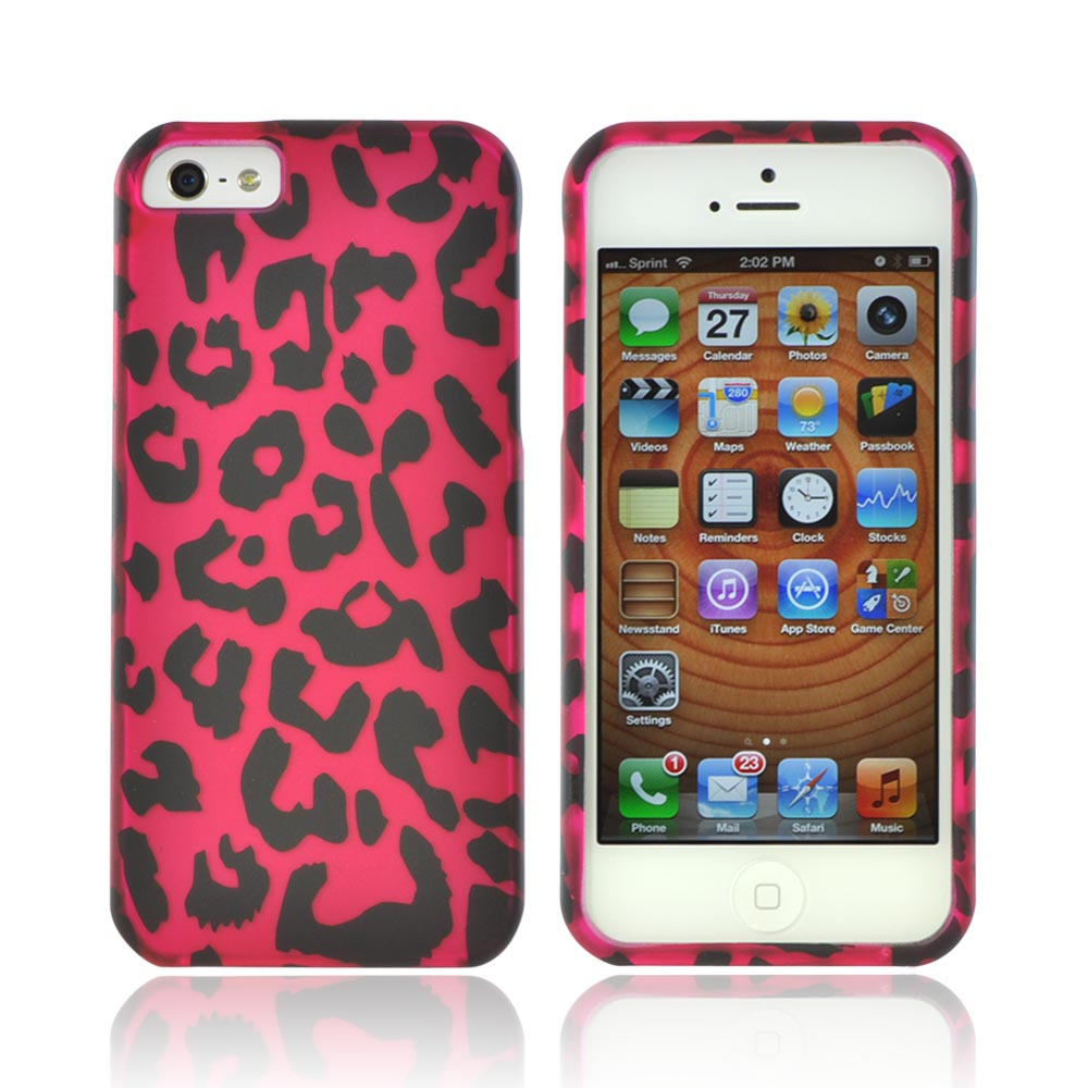 Apple iPhone SE / 5 / 5S Hard Case,  [Hot Pink/ Black Leopard]  Slim & Protective Rubberized Matte Finish Snap-on Hard Polycarbonate Plastic Case Cover