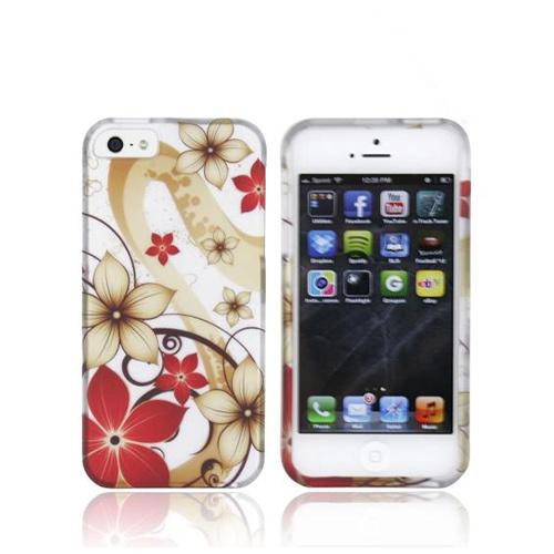 Apple iPhone SE / 5 / 5S Hard Case,  [Red/ White Flowers on Silver]  Slim & Protective Rubberized Matte Finish Snap-on Hard Polycarbonate Plastic Case Cover