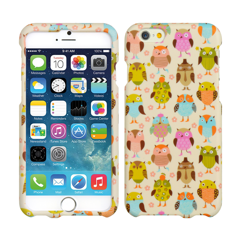 Apple iPhone 6/ 6S Case,  [Retro Owls on Cream Matte]  Slim & Protective Rubberized Matte Finish Snap-on Hard Polycarbonate Plastic Case Cover