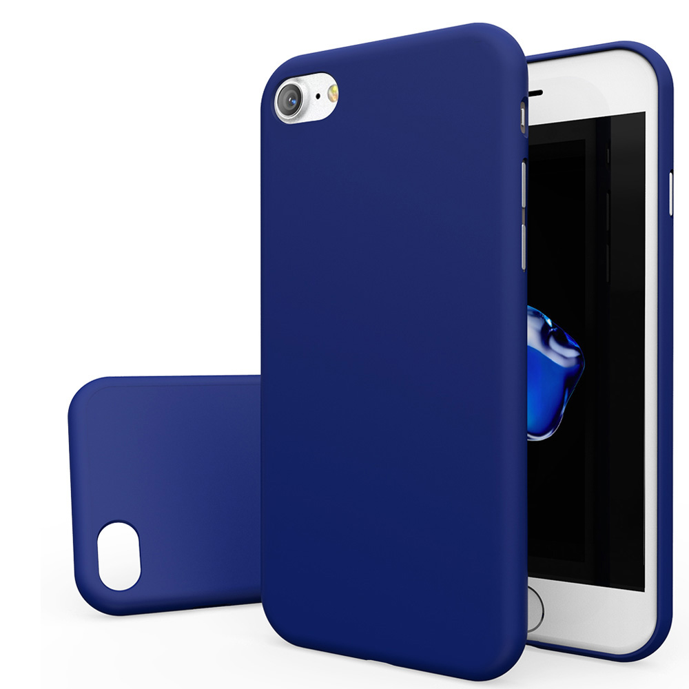 Made for Apple iPhone 8/7/6S/6 Case, Slim Protective Rubberized Matte Finish Snap-on Hard Polycarbonate Plastic Case Cover [Blue] with Travel Wallet Phone Stand by Redshield