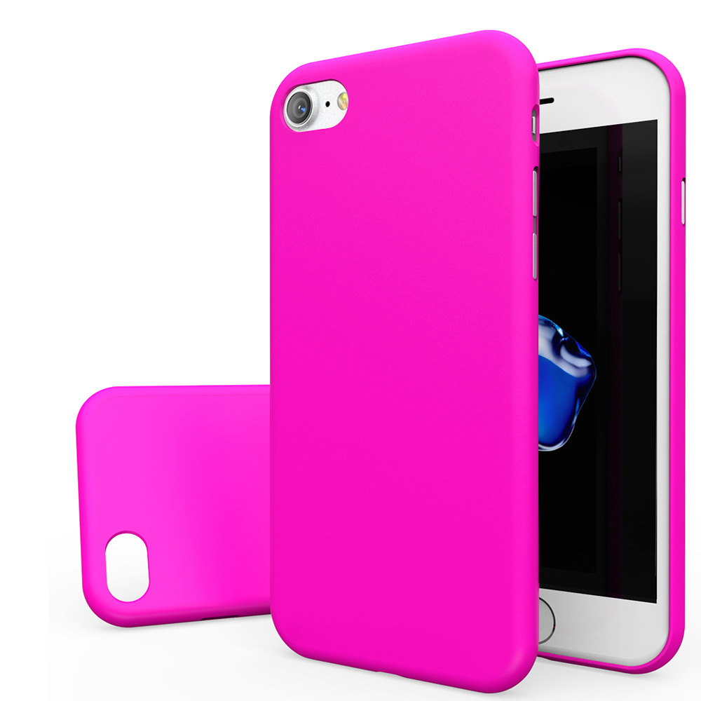 Made for Apple iPhone 8/7/6S/6 Case, Slim Protective Rubberized Matte Finish Snap-on Hard Polycarbonate Plastic Case Cover [Hot Pink] with Travel Wallet Phone Stand by Redshield