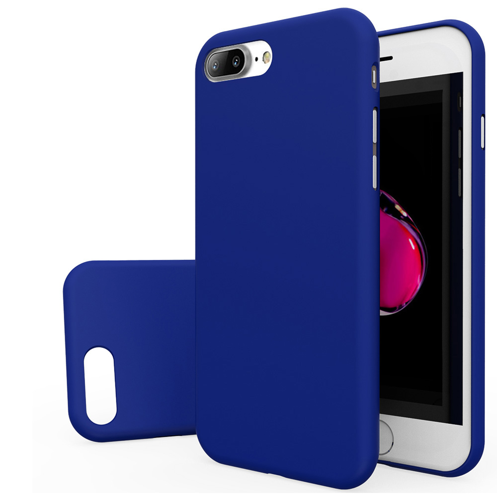 Made for Apple iPhone 8/7/6S/6 Plus Case, Slim Protective Rubberized Matte Finish Snap-on Hard Polycarbonate Plastic Case Cover [Blue] with Travel Wallet Phone Stand by Redshield