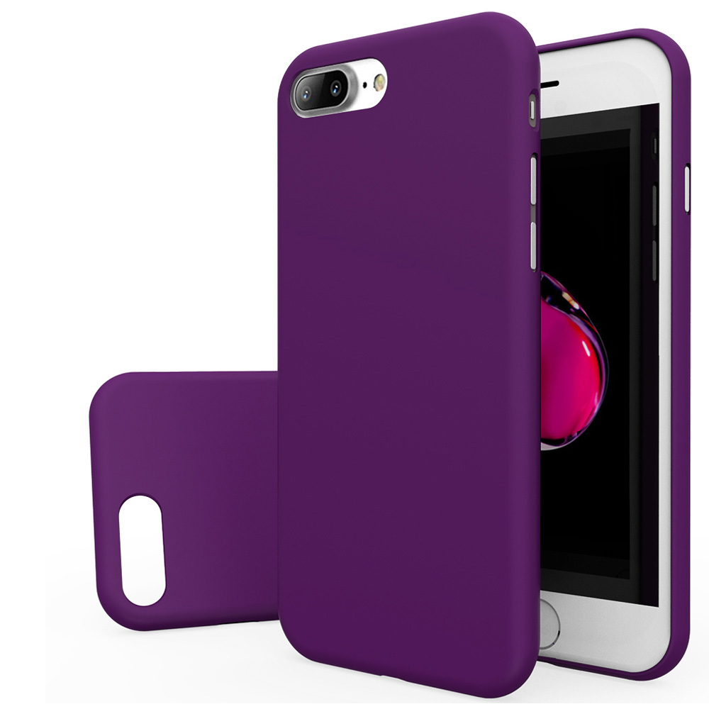 Apple iPhone 8/7/6S/6 Plus Case, [REDshield] Slim & Protective Rubberized Matte Finish Snap-on Hard Polycarbonate Plastic Case Cover [Purple] with Travel Wallet Phone Stand