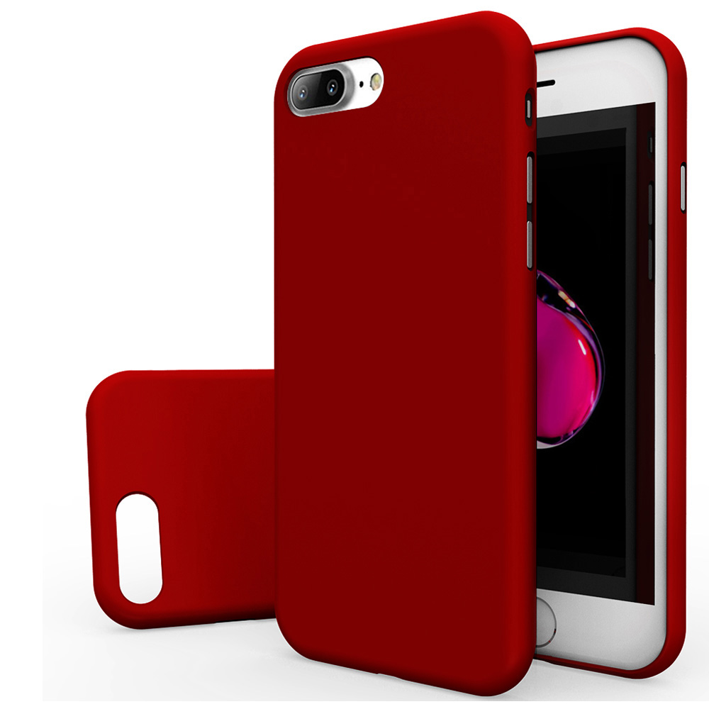 Apple iPhone 8/7/6S/6 Plus Case, [REDshield] Slim & Protective Rubberized Matte Finish Snap-on Hard Polycarbonate Plastic Case Cover [Red] with Travel Wallet Phone Stand