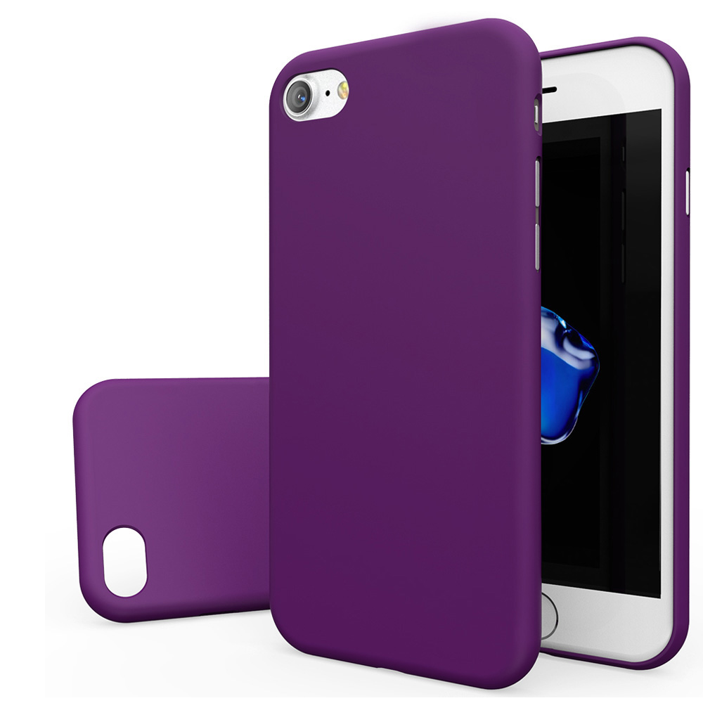 Apple iPhone 8/7/6S/6 Case, [REDshield] Slim & Protective Rubberized Matte Finish Snap-on Hard Polycarbonate Plastic Case Cover [Purple] with Travel Wallet Phone Stand