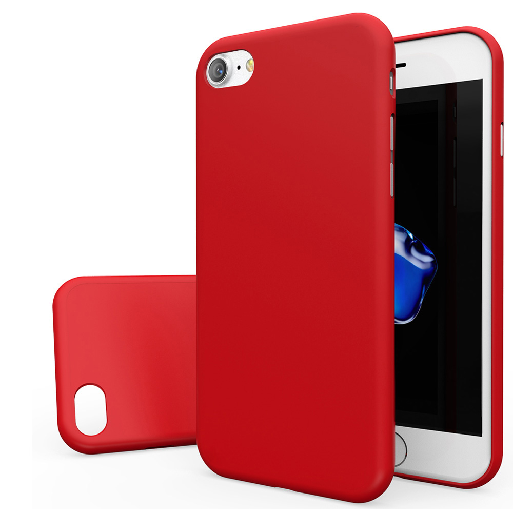 Apple iPhone 8/7/6S/6 Case, [REDshield] Slim & Protective Rubberized Matte Finish Snap-on Hard Polycarbonate Plastic Case Cover [Red] with Travel Wallet Phone Stand