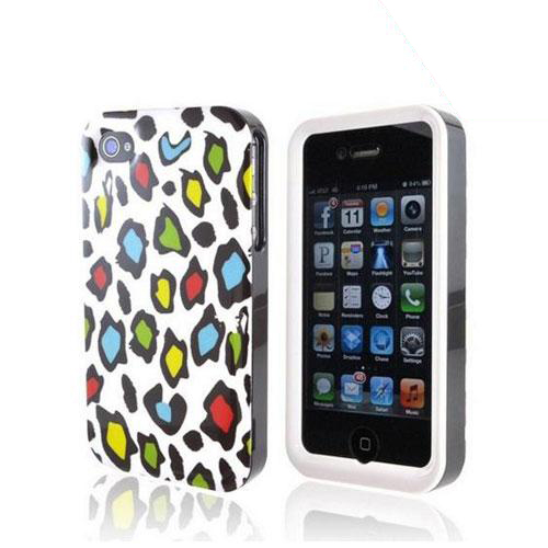 Apple Verizon/ AT&T iPhone 4, iPhone 4S Rubberized Hard Case - Colorful Leopard on White