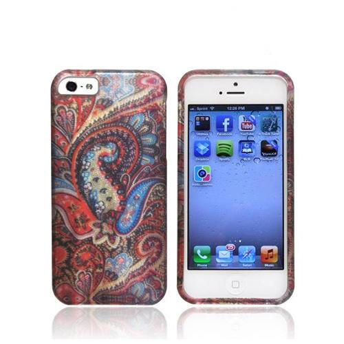 Apple iPhone SE / 5 / 5S Hard Case,  [Red/ Blue Enticing Peacock]  Slim & Protective Rubberized Matte Finish Snap-on Hard Polycarbonate Plastic Case Cover