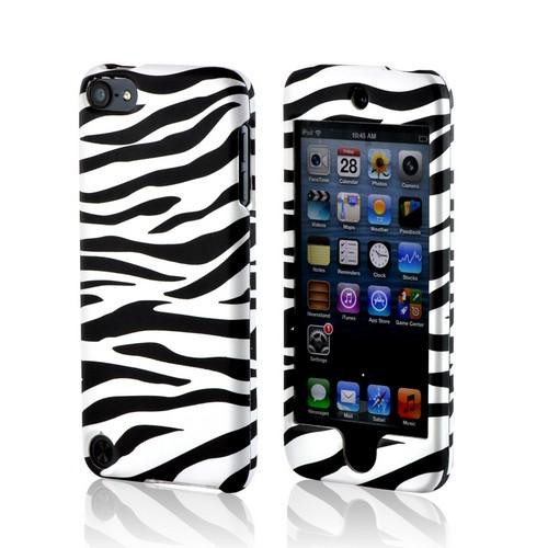 Black/ White Zebra Rubberized Hard Case for Apple iPod Touch 5