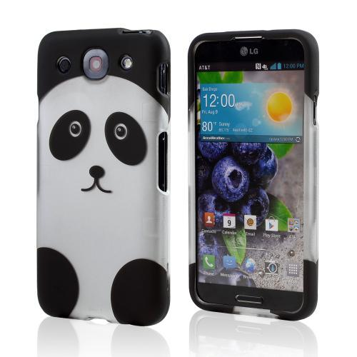Silver/ Black Panda Bear Rubberized Hard Case for LG Optimus G Pro
