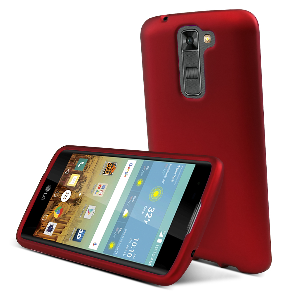 LG K7/ LG Tribute 5 Case,  [Red]  Slim & Protective Rubberized Matte Finish Snap-on Hard Polycarbonate Plastic Case Cover