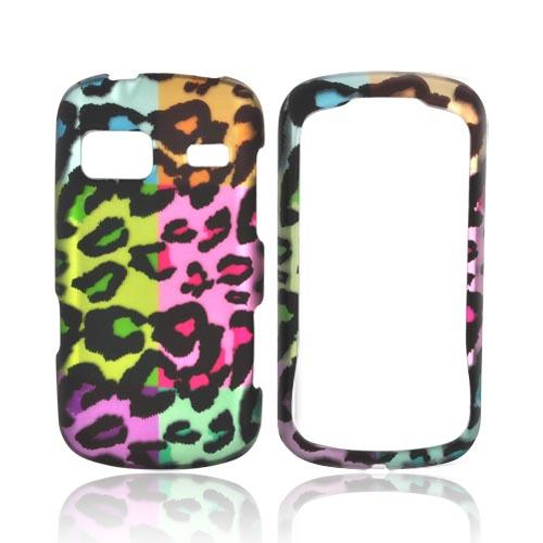 LG Rumor Reflex Rubberized Hard Case - Multi-Colored Artsy Leopard
