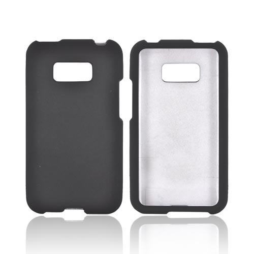 LG Optimus Elite Rubberized Hard Case - Black