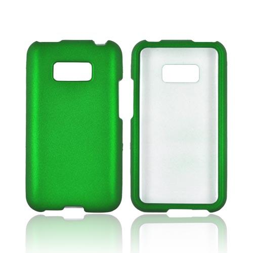 LG Optimus Elite Rubberized Hard Case - Green