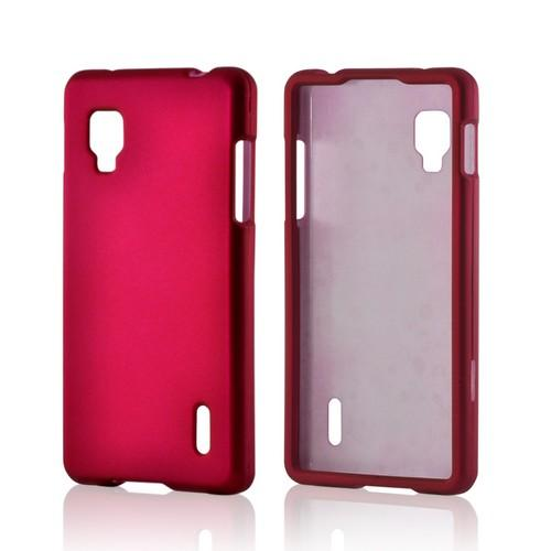 Hot Pink Rubberized Hard Case for LG Optimus G (Sprint)