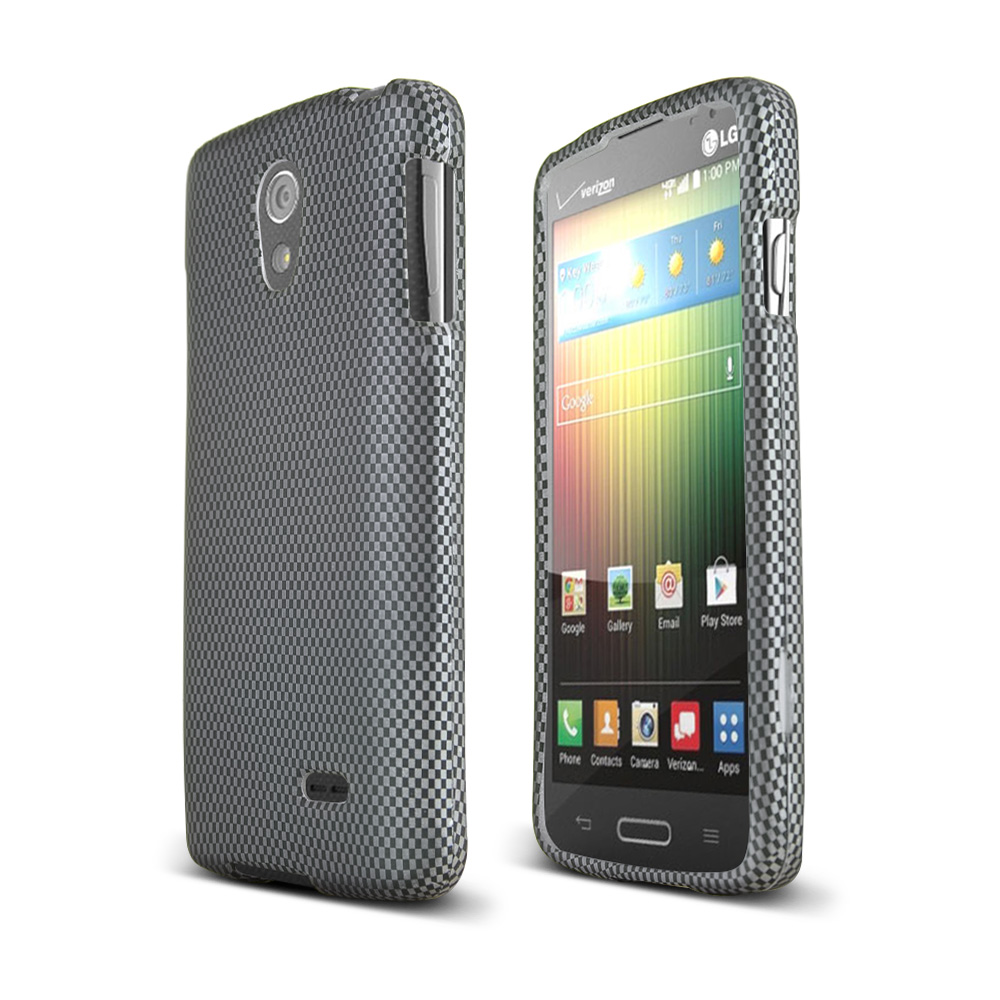 Black/ Gray Carbon Fiber Design LG Lucid 3 Matte Rubberized Hard Case Cover; Perfect fit as Best Coolest Design Plastic Cases