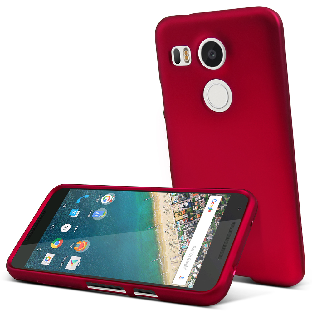 LG Nexus 5X Case,  [Rose Red]  Slim & Protective Rubberized Matte Finish Snap-on Hard Polycarbonate Plastic Case Cover