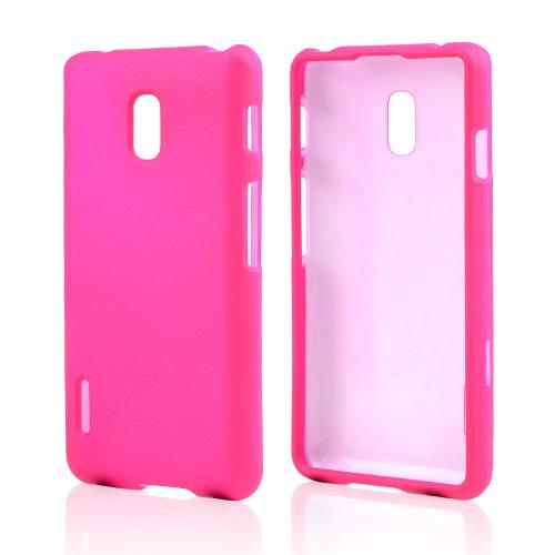 Hot Pink Rubberized Hard Case for LG Optimus F7