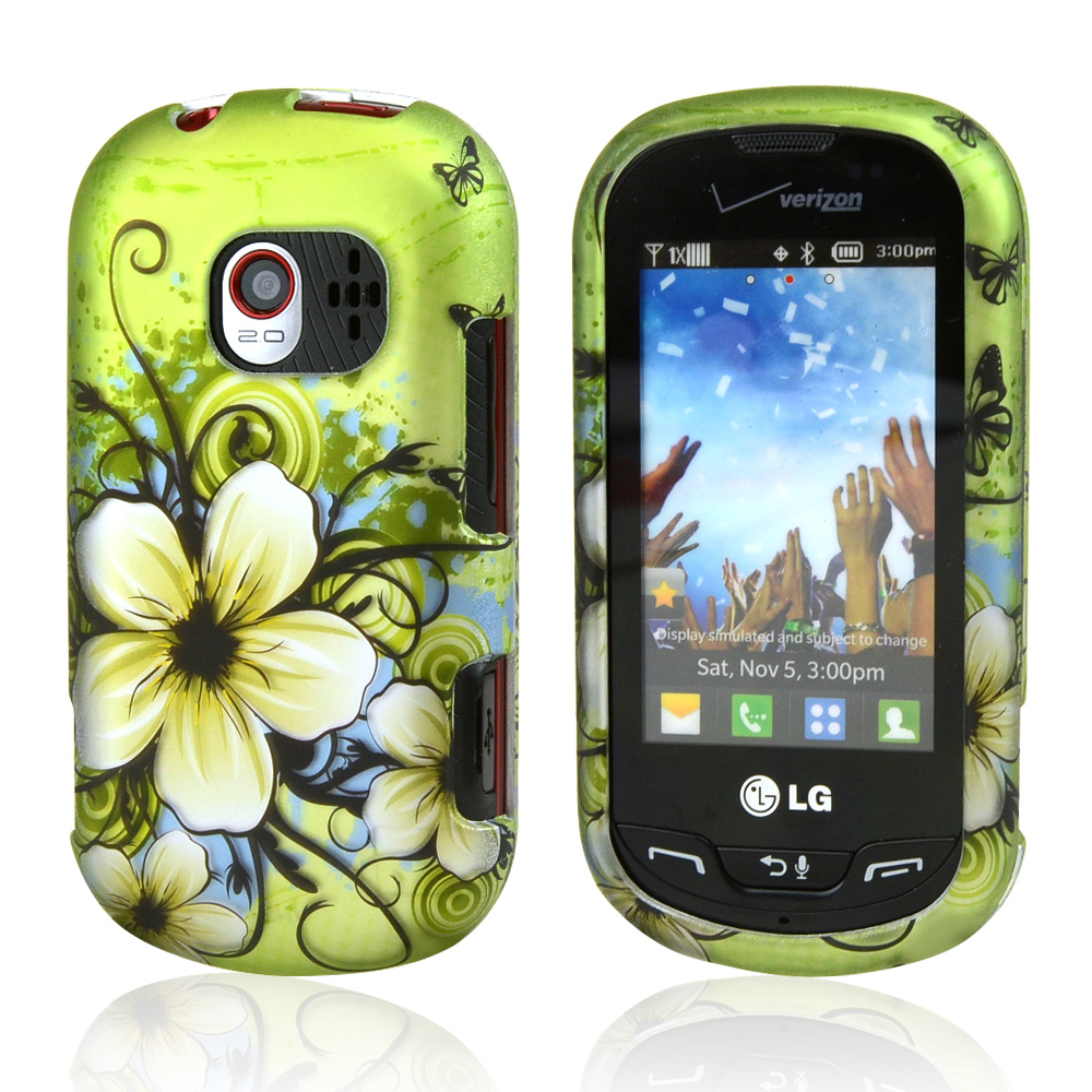 LG Extravert VN271 Rubberized Hard Case - White Hawaiian Flowers on Green