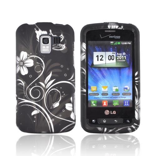 LG Enlighten VS700 Rubberized Hard Case - White Butterflies & Flowers on Black