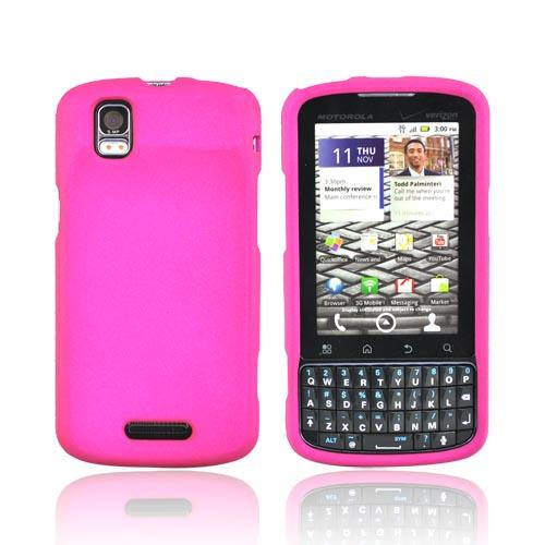 Motorola Droid Pro A957 Rubberized Hard Case - Hot Pink