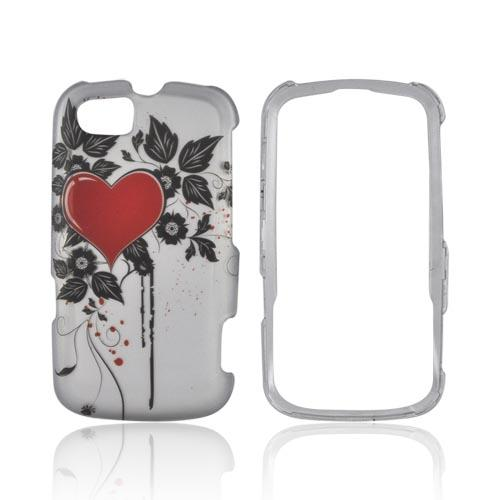 Motorola Admiral Rubberized Hard Case - Red Heart & Leaves on Silver
