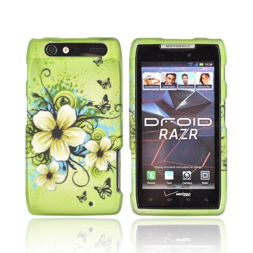 Motorola Droid RAZR Rubberized Hard Case - White Hawaiian Flowers on Green