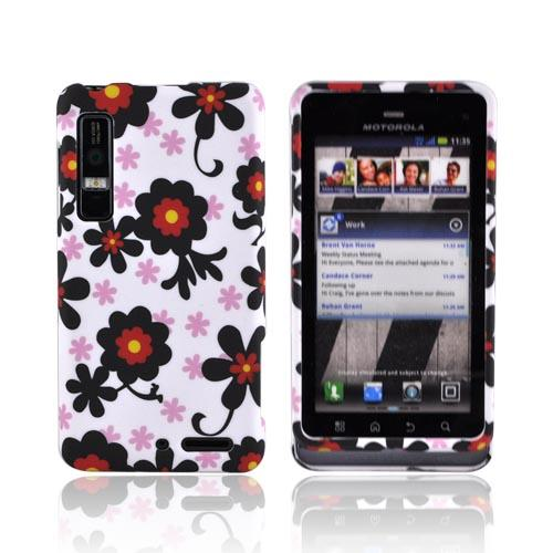 Motorola Droid 3 Rubberized Hard Case - Black/ Red Daisies on White