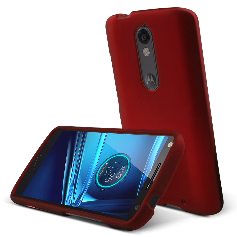 Motorola Droid Turbo 2 Case,  [Red]  Slim & Protective Rubberized Matte Finish Snap-on Hard Polycarbonate Plastic Case Cover
